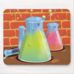 Cartoon Glass Science equipment on a bench Mouse Pad