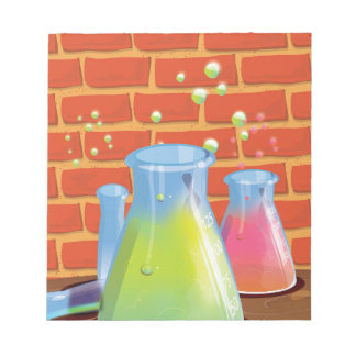 Cartoon Glass Science equipment on a bench Notepad