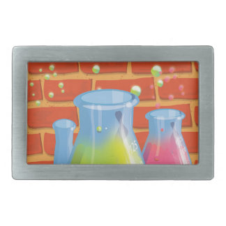 Cartoon Glass Science equipment on a bench Rectangular Belt Buckle