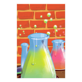 Cartoon Glass Science equipment on a bench Stationery
