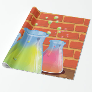 Cartoon Glass Science equipment on a bench Wrapping Paper