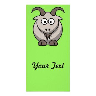 Cartoon Goat on Bright green Background Photo Card
