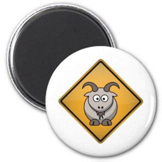 Cartoon Goat Warning Sign 2 Inch Round Magnet