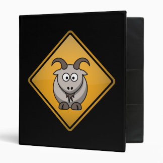 Cartoon Goat Warning Sign Binder