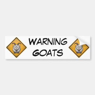 Cartoon Goat Warning Sign Bumper Sticker