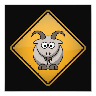 Cartoon Goat Warning Sign Card