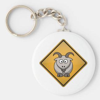 Cartoon Goat Warning Sign Keychain