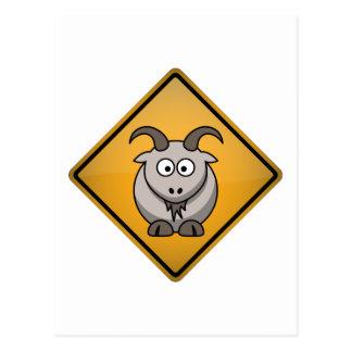 Cartoon Goat Warning Sign Postcard