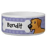 Cartoon Golden Retriever Dog Bowl