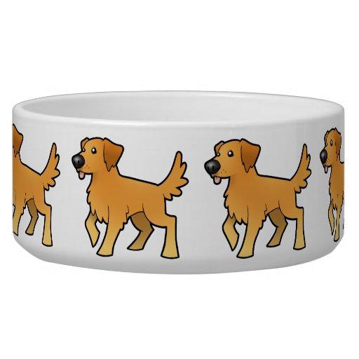 Cartoon Golden Retriever Pet Bowls