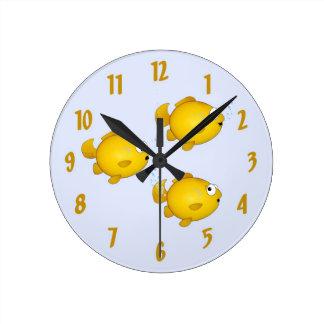 Cartoon goldfish clock. round clock