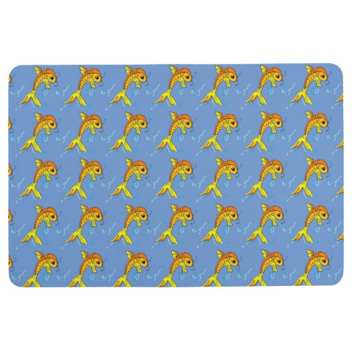 Cartoon Goldfish Floor Mat Zazzle