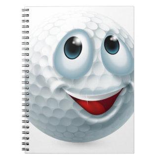Cartoon golf ball character notebook