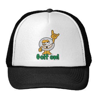 Cartoon Golf Ball With Hand Gesture Trucker Hats