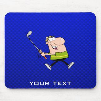 Cartoon Golfer; Blue Mouse Pad