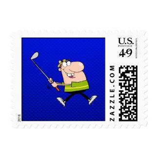 Cartoon Golfer; Blue Stamp