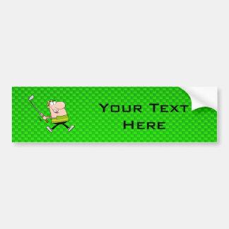 Cartoon Golfer; Green Car Bumper Sticker