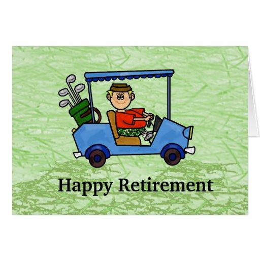 Cartoon Golfer In Cart Retirement Card Zazzle
