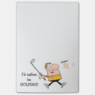 Cartoon Golfer Post-it Notes