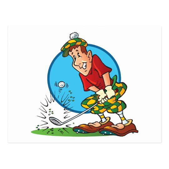 Cartoon Golfer Postcard