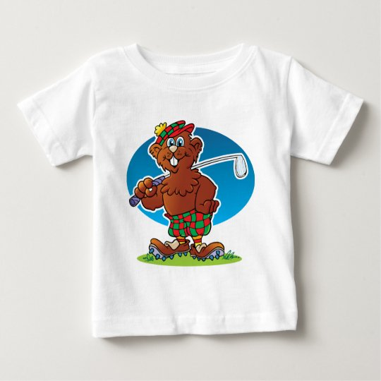 Cartoon Gopher Golfing Baby T-Shirt