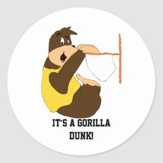 Cartoon Gorilla Slam Dunking Classic Round Sticker