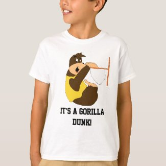 Cartoon Gorilla Slam Dunking T-Shirt