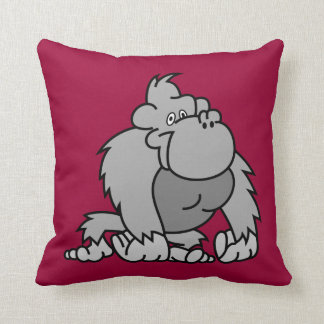 Cartoon Gorilla Throw Pillow