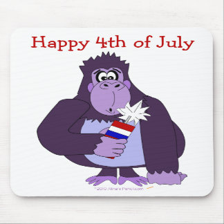 Cartoon Gorilla with Fireworks Funny July 4 Mousepad
