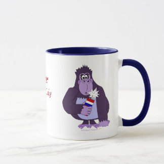 Cartoon Gorilla with Fireworks Funny July 4 Mug