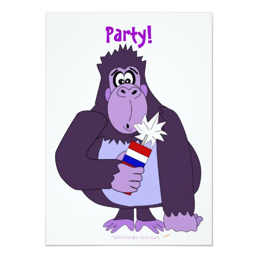Cartoon Gorilla with Fireworks Funny July 4  Party Custom Invite