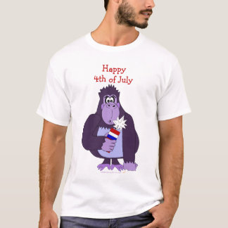 Cartoon Gorilla with Fireworks Funny July 4 Shirt