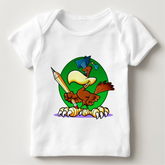 Cartoon Graduate Hawk Baby T-Shirt