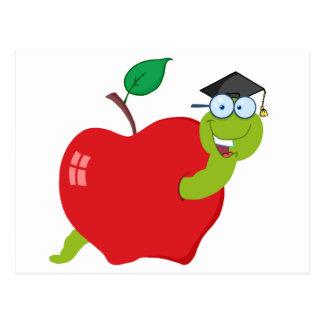 Cartoon Graduate Worm In Apple Postcard
