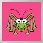 Cartoon Grasshopper Poster Print