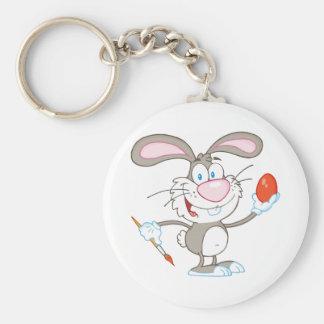 Cartoon Gray Rabbit Painting Easter Egg Keychain