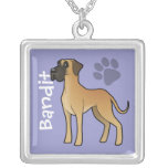 Cartoon Great Dane (add your pets name) Square Pendant Necklace
