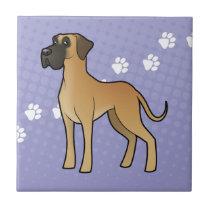 Cartoon Great Dane (natural) Ceramic Tile