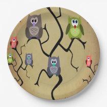 Cartoon Great Horned Owls Paper Plate