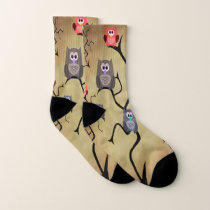 Cartoon Great Horned Owls Socks