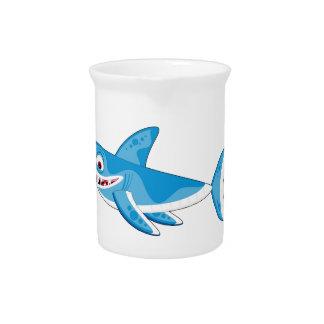 Cartoon Great White Shark Drink Pitcher