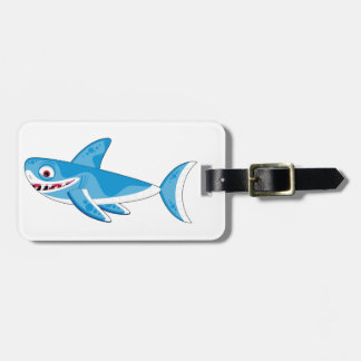 Cartoon Great White Shark Luggage Tag
