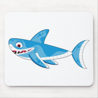 Cartoon Great White Shark Mouse Pad