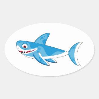 Cartoon Great White Shark Oval Sticker