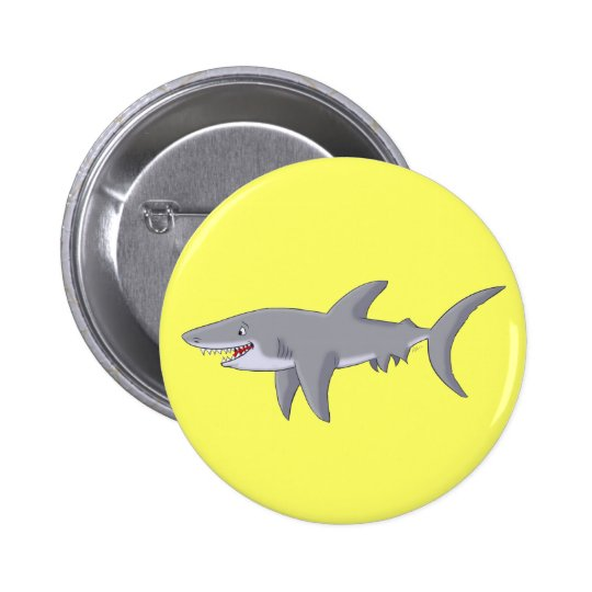 Cartoon Great White Shark Pinback Button
