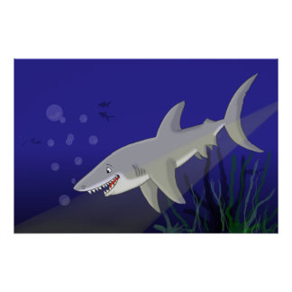Cartoon Great White Shark Poster Print