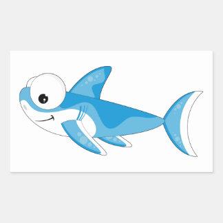 Cartoon Great White Shark Rectangular Sticker