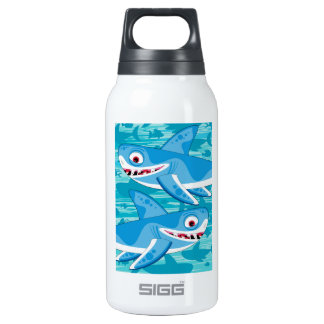 Cartoon Great White Sharks Insulated Water Bottle