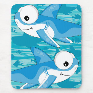 Cartoon Great White Sharks Mouse Pad