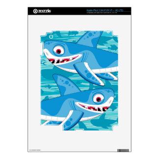 Cartoon Great White Sharks Decals For iPad 3